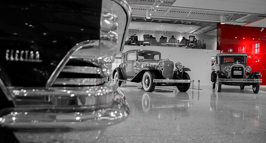 black and white photo of the Gallery showroom